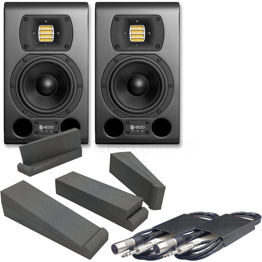 HEDD Type 05 MK2 Black Studio Monitors (Pair) + Pads & Leads Bundle