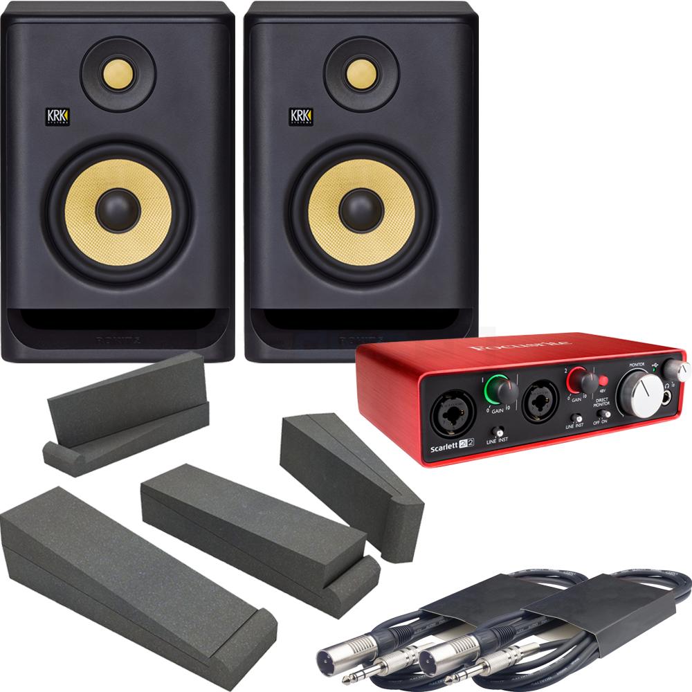 KRK Rokit RP5 G4 Studio Monitors (Pair) + Scarlett 2i2, Pads & Leads