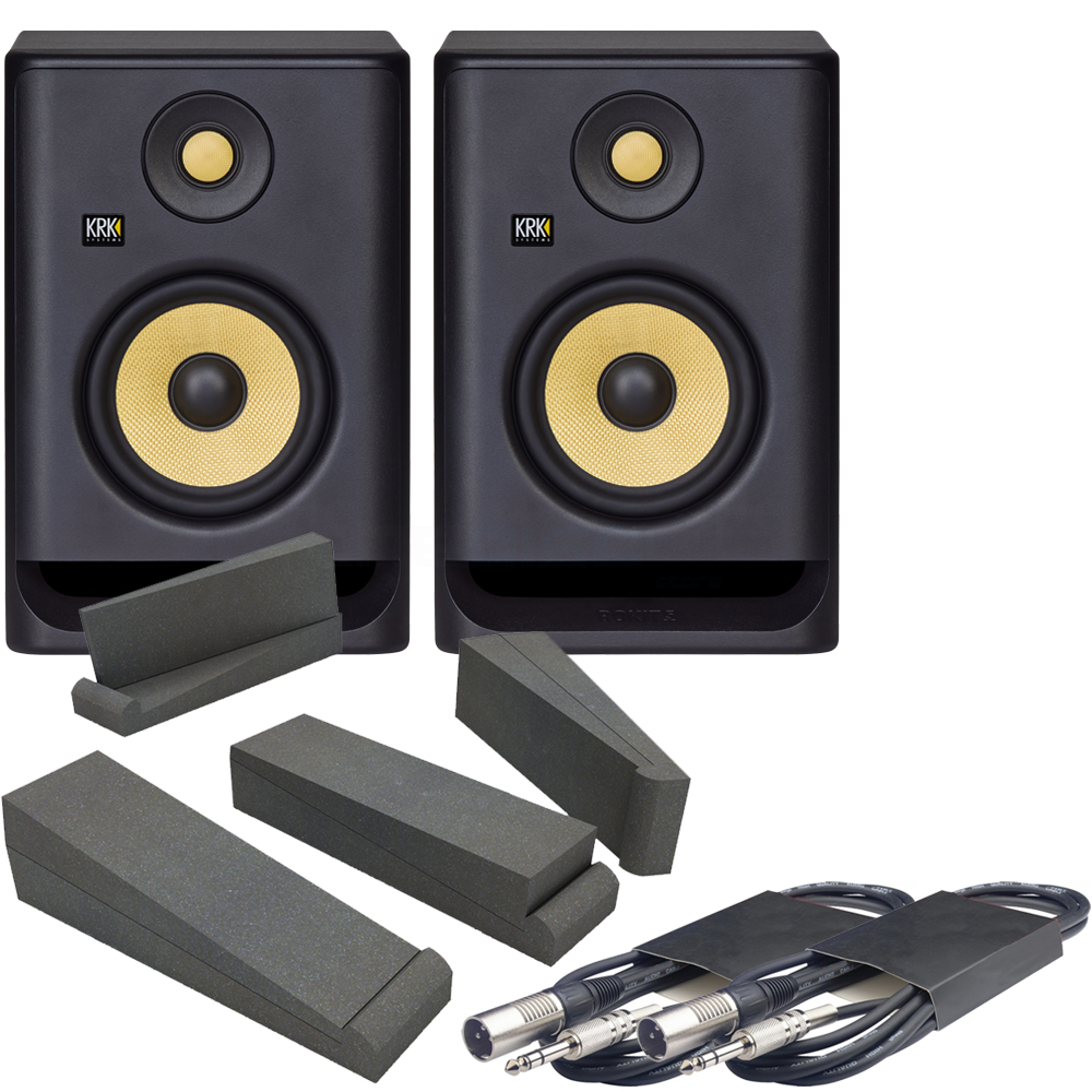 KRK Rokit RP5 G4 (Pair) + Isolation Pads & Leads Bundle