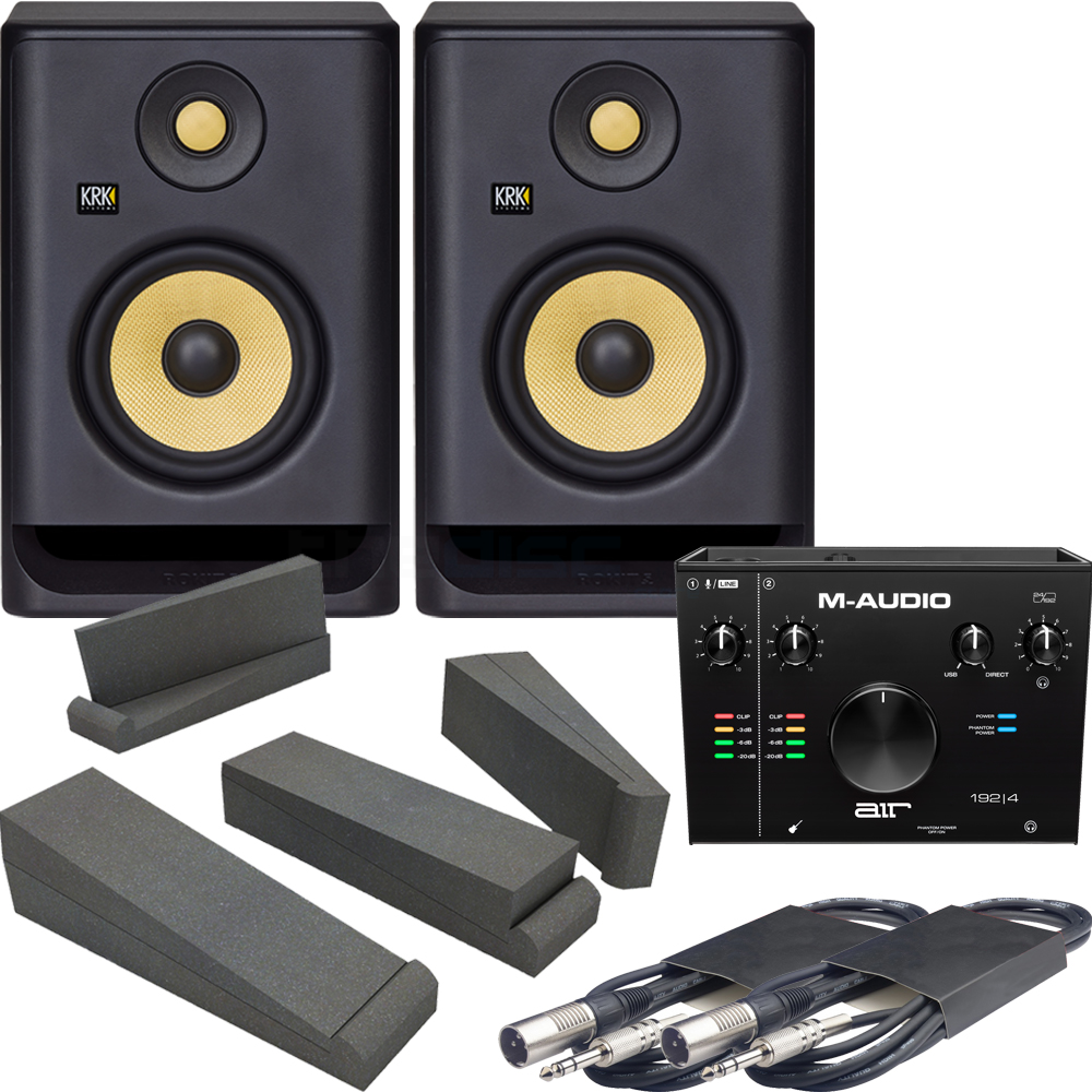 M-Audio Air 192|4 Audio Interface + 2x KRK Rokit RP5 G4, Pads & Leads