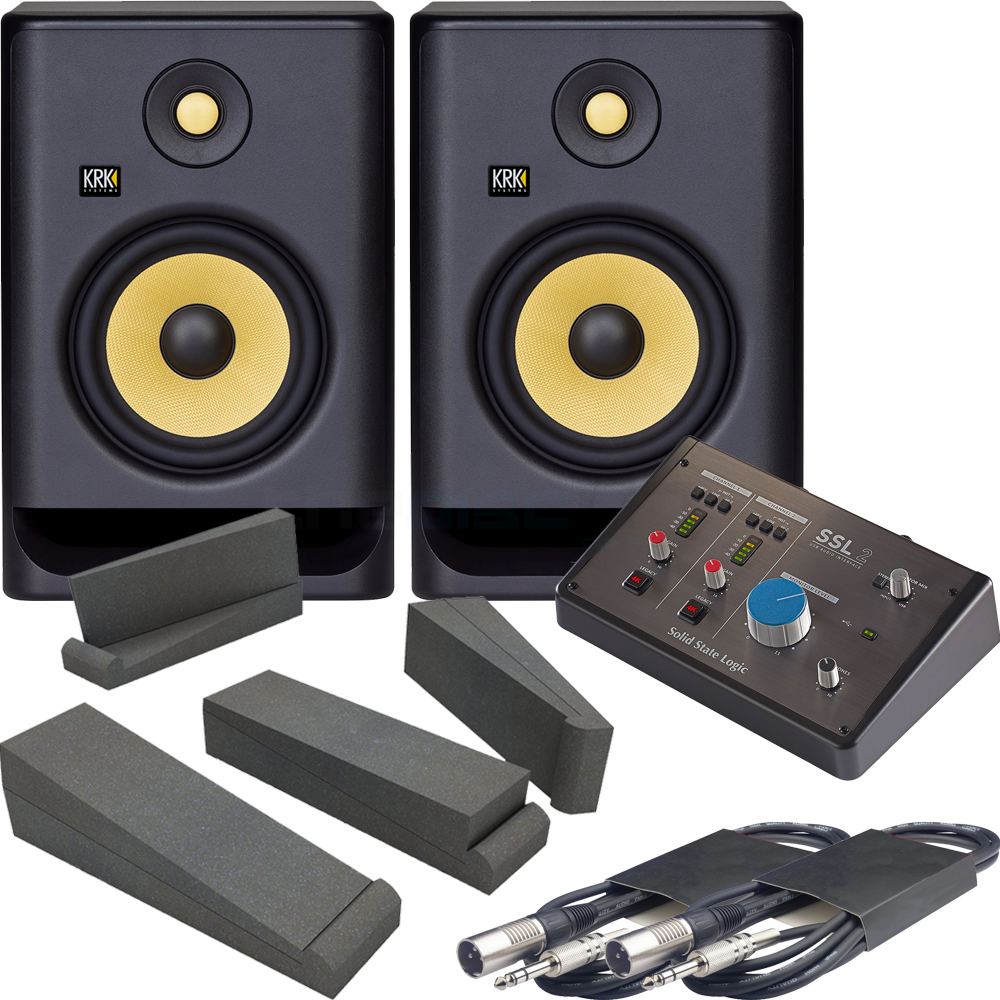 KRK Rokit RP7 G4 Active Monitors + Solid State Logic SSL 2 Interface