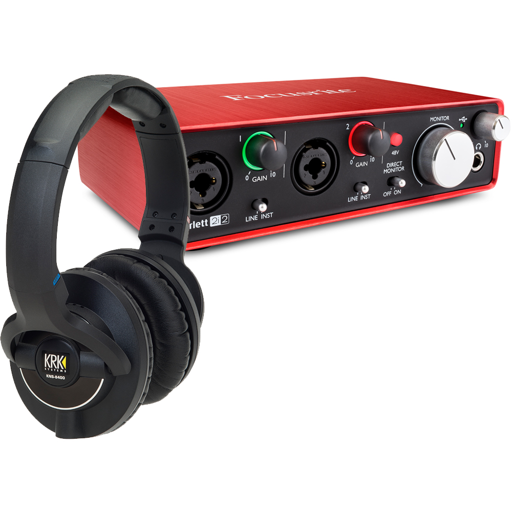 KRK KNS8400 Studio Headphones + Focusrite Scarlett 2i2 (G2) Bundle
