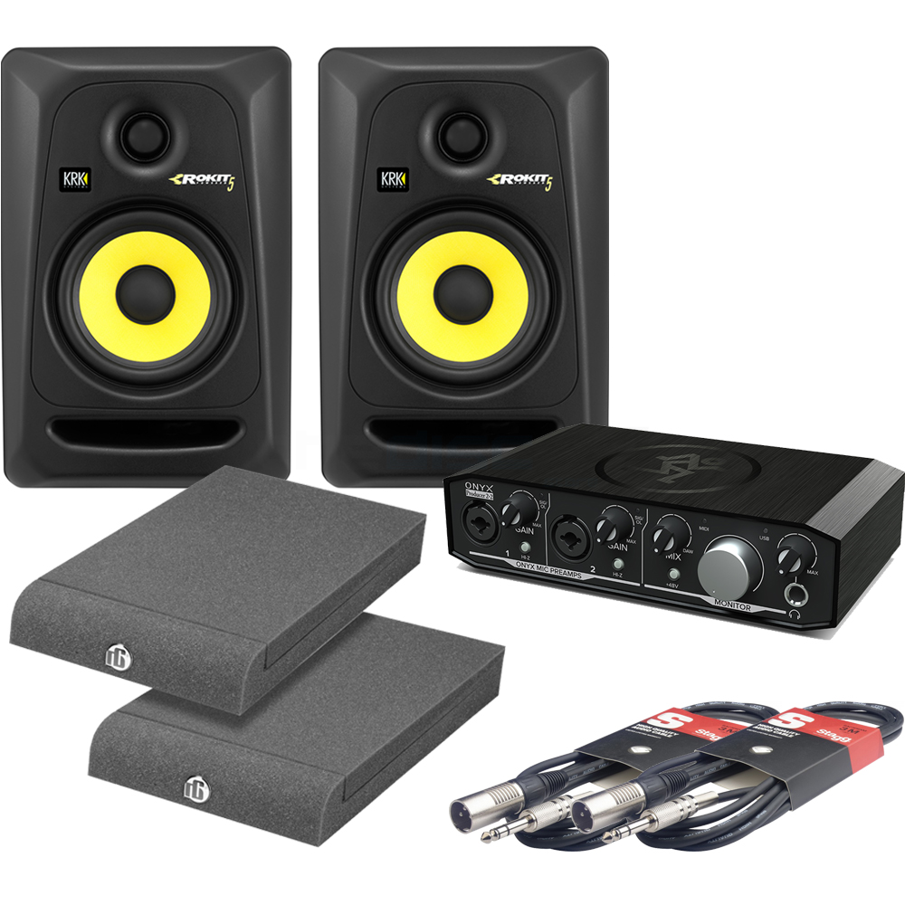 ​KRK Rokit RP5 G3, Mackie Onyx 2.2, Isolation Pads & Leads Bundle Deal