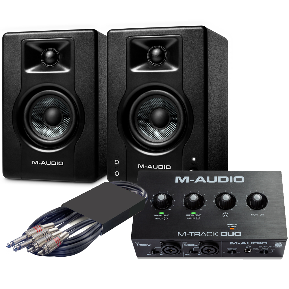 M-Audio BX3 Speakers (Pair) + M-Track Duo Interface Bundle Deal