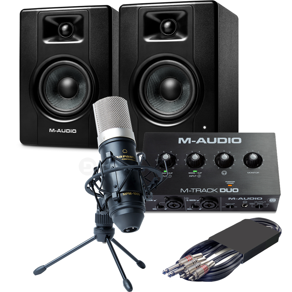 M-Audio BX4 Speakers (Pair) + M-Track Duo Interface & MPM-1000 Microphone
