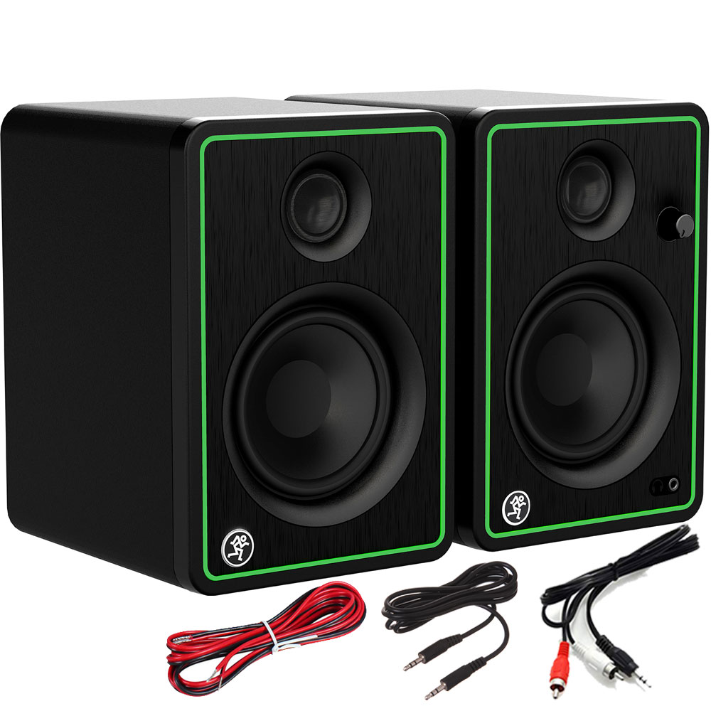 Mackie CR4X Active DJ Speakers + Cables Bundle