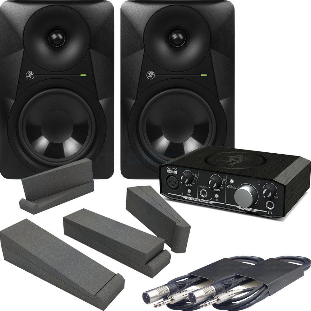 Mackie MR524 Monitors & Onyx 1.2 Interface + Iso Pads & Leads Bundle