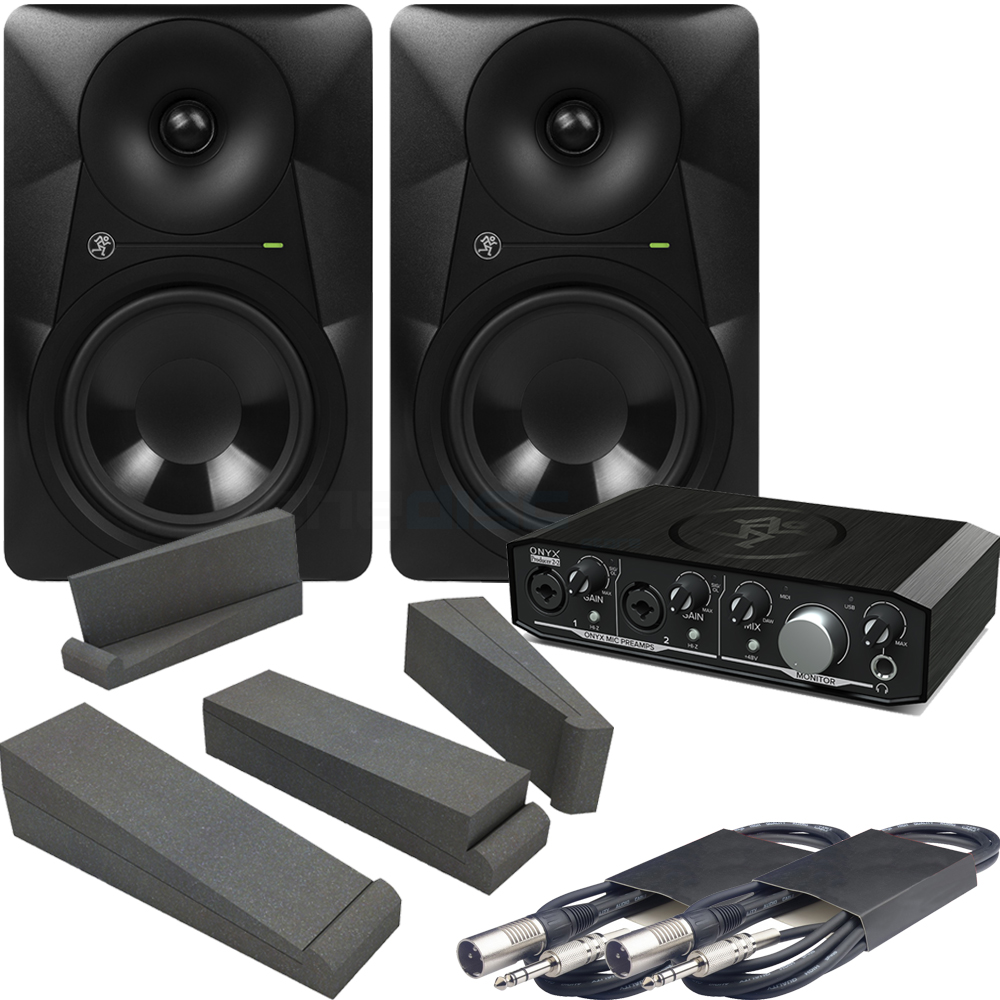 Mackie MR624 Monitors & Onyx 2.2 Interface  + Iso Pads & Leads Bundle