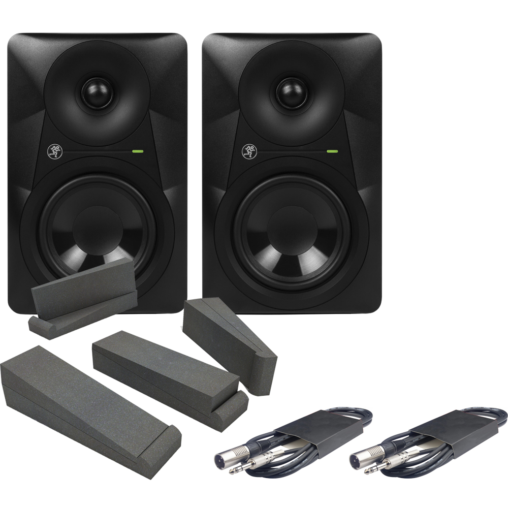 Mackie MR524 Monitors + Isolation Pads & Leads Bundle Deal