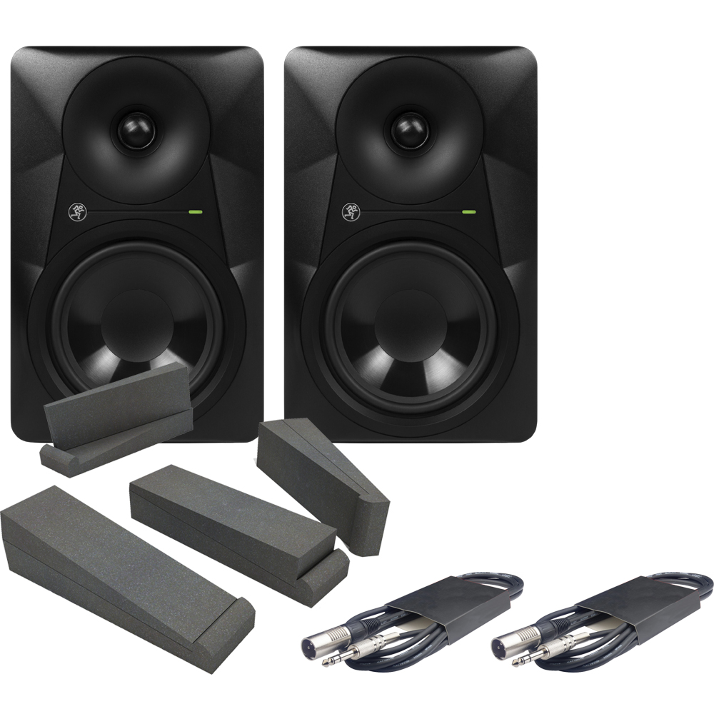 Mackie MR624 Monitors + Isolation Pads & Leads Bundle Deal