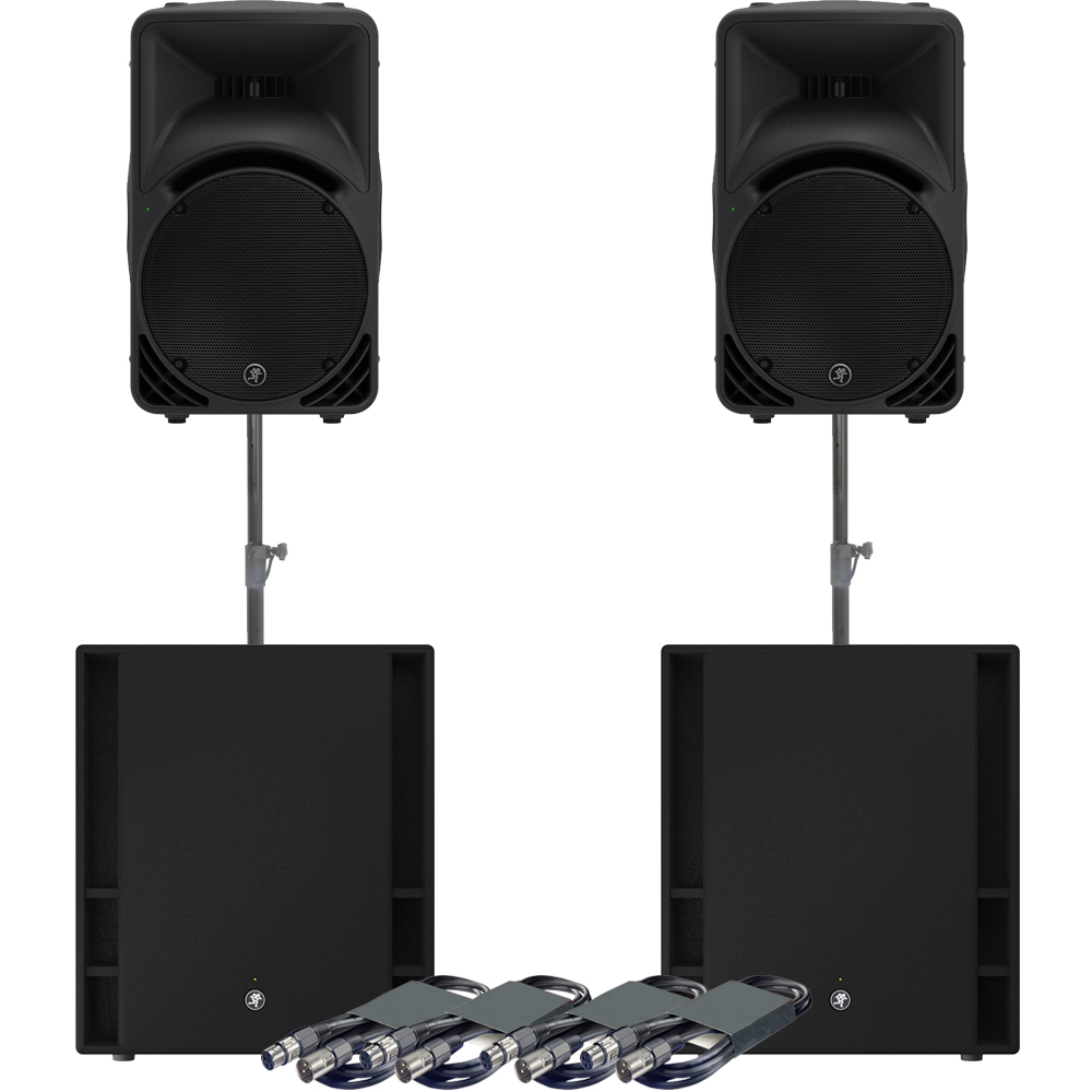 Mackie 2 x SRM450 Speakers, 2 x 18S Subs + Poles & Leads