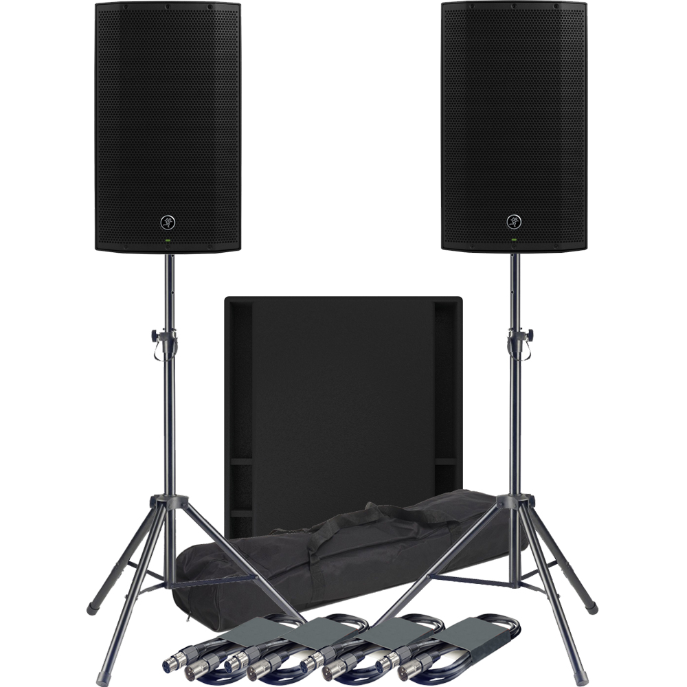 Mackie 2 x Thump 12A Speakers, 1 x 18S Sub + Tripod Stands & Leads
