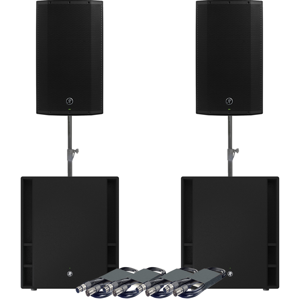 Mackie 2 x Thump 12A Speakers, 2 x 18S Subs + Poles & Leads