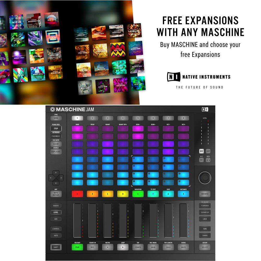 NI Maschine Jam + Komplete Select & 3 Free Expansions Offer