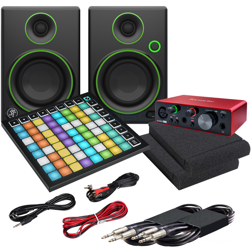 Novation Launchpad Mini MK3, Focusrite Scarlett Solo G3 & Mackie CR3