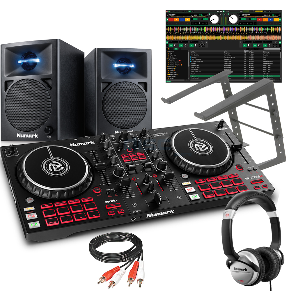 Numark Mixtrack Pro FX, N-Wave 360 Speakers, Laptop Stand & HF125