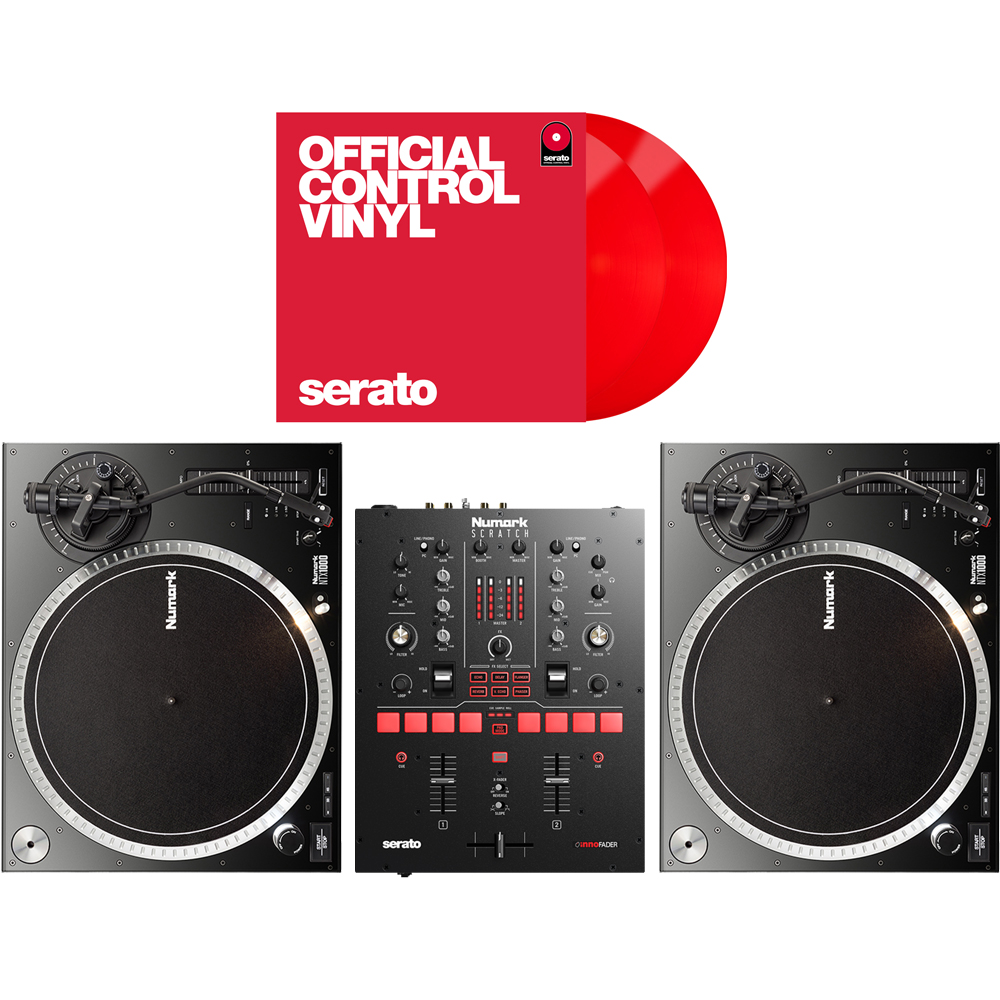 Numark Scratch Mixer, NTX1000 Turntables + DVS Software & Red Vinyls