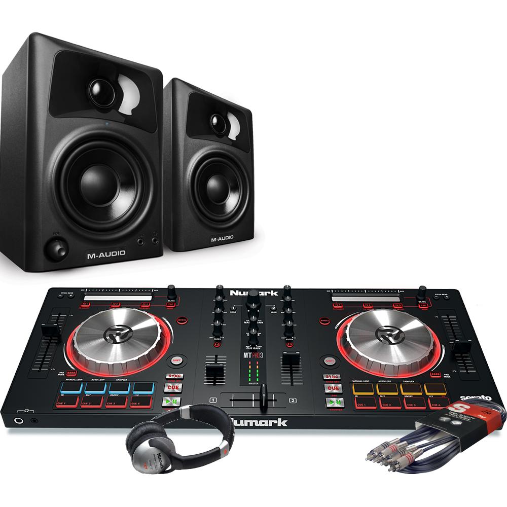 Numark Mixtrack Pro MK3, M-Audio AV32 Speakers, Headphone Package Deal