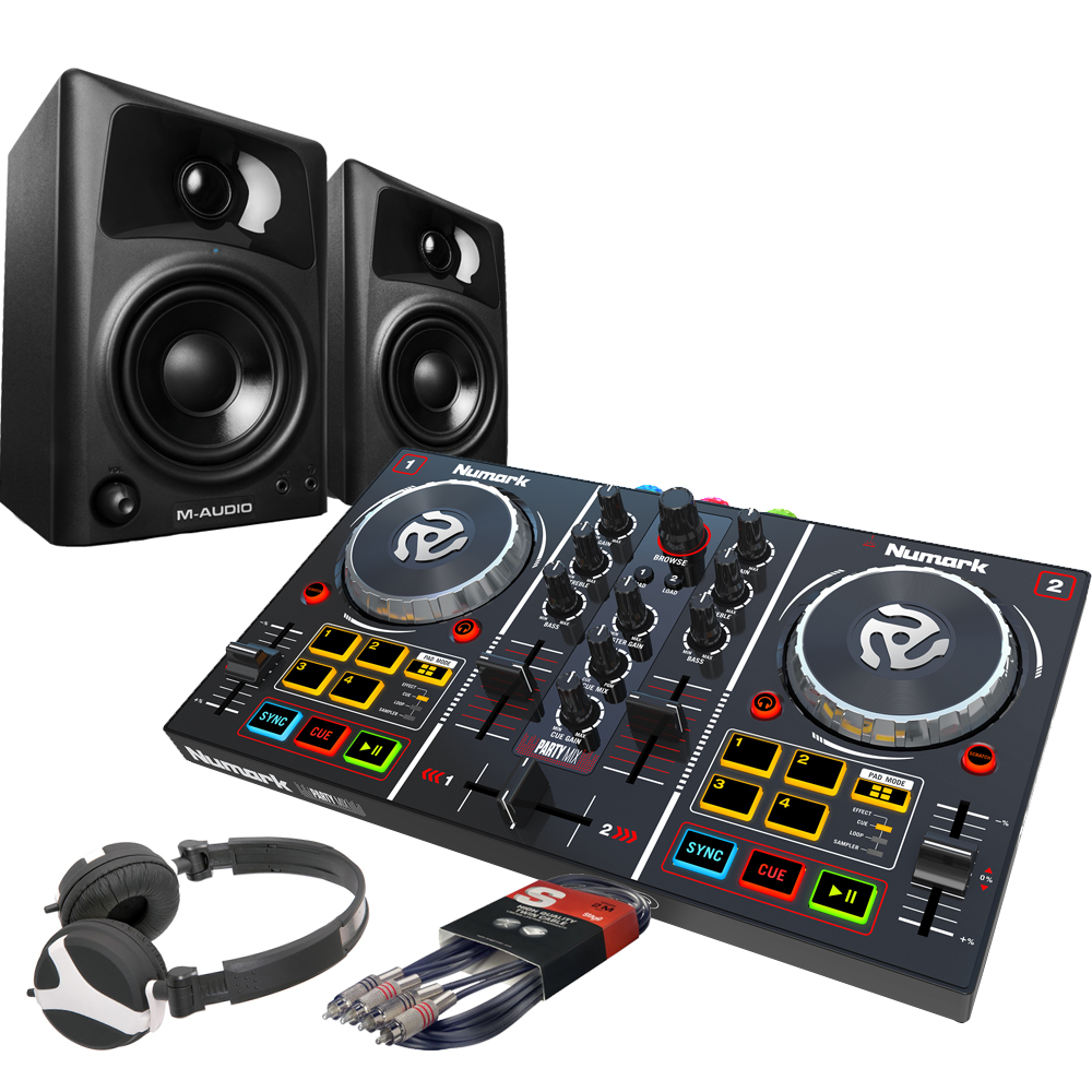 numark party mix dj controller m audio av32 speakers hf125 bundle the disc dj store. Black Bedroom Furniture Sets. Home Design Ideas