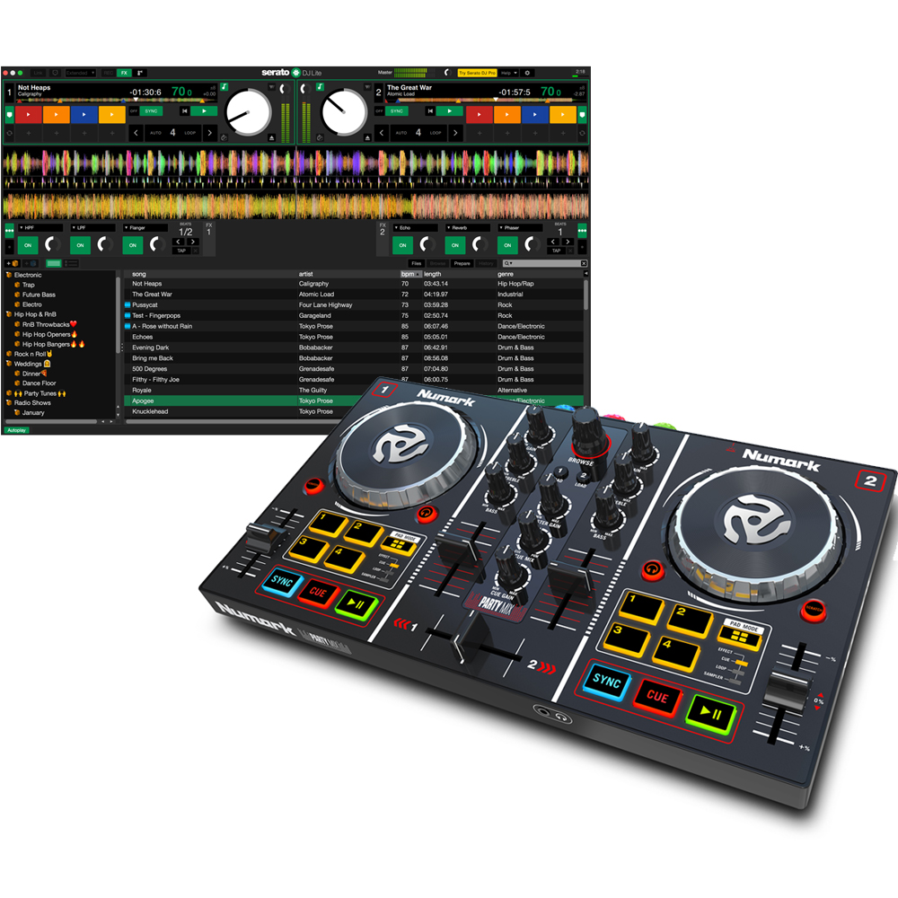 Numark Party Mix DJ Controller With Built In Lighting Show