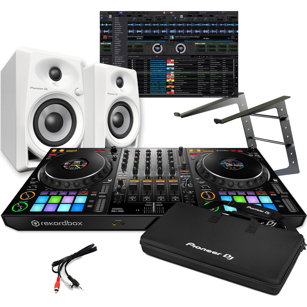 Pioneer DDJ-1000 + DM-40 White Speakers, Carry Bag & Laptop Stand