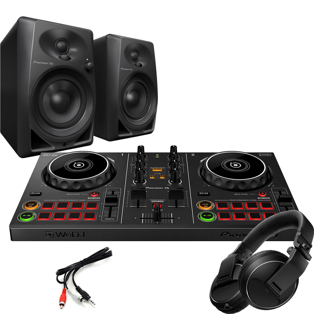 Pioneer DDJ-200 Wireless Controller, DM-40 Speakers & HDJ-X5 Headphones