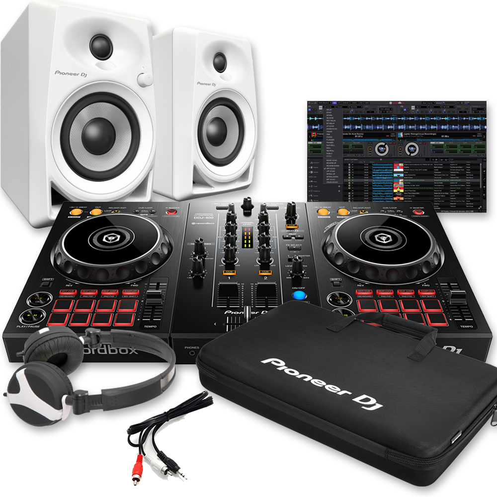 Pioneer DDJ-400, Rekordbox DJ, DM-40 White, Carry Bag & Headphones