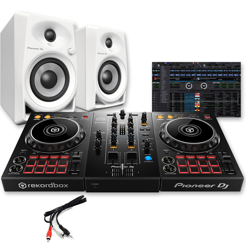 Pioneer DDJ-400 + Rekordbox DJ Software & DM-40 White DJ Speakers
