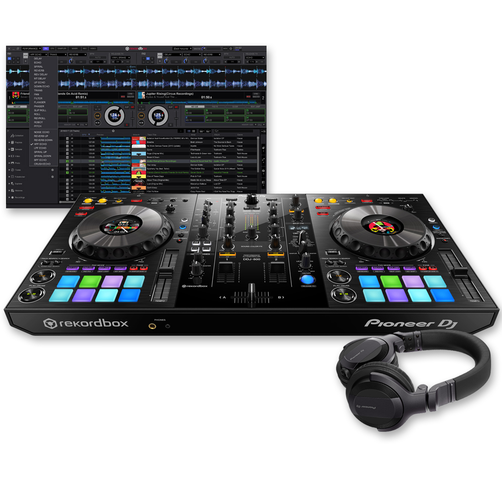 Pioneer DDJ-800, Rekordbox DJ + HDJ-CUE1 Headphones Bundle