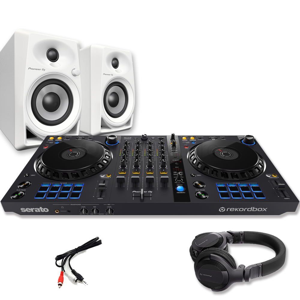 Pioneer DDJ-FLX6, DM-40 White Speakers & HDJ-CUE1 Headphones
