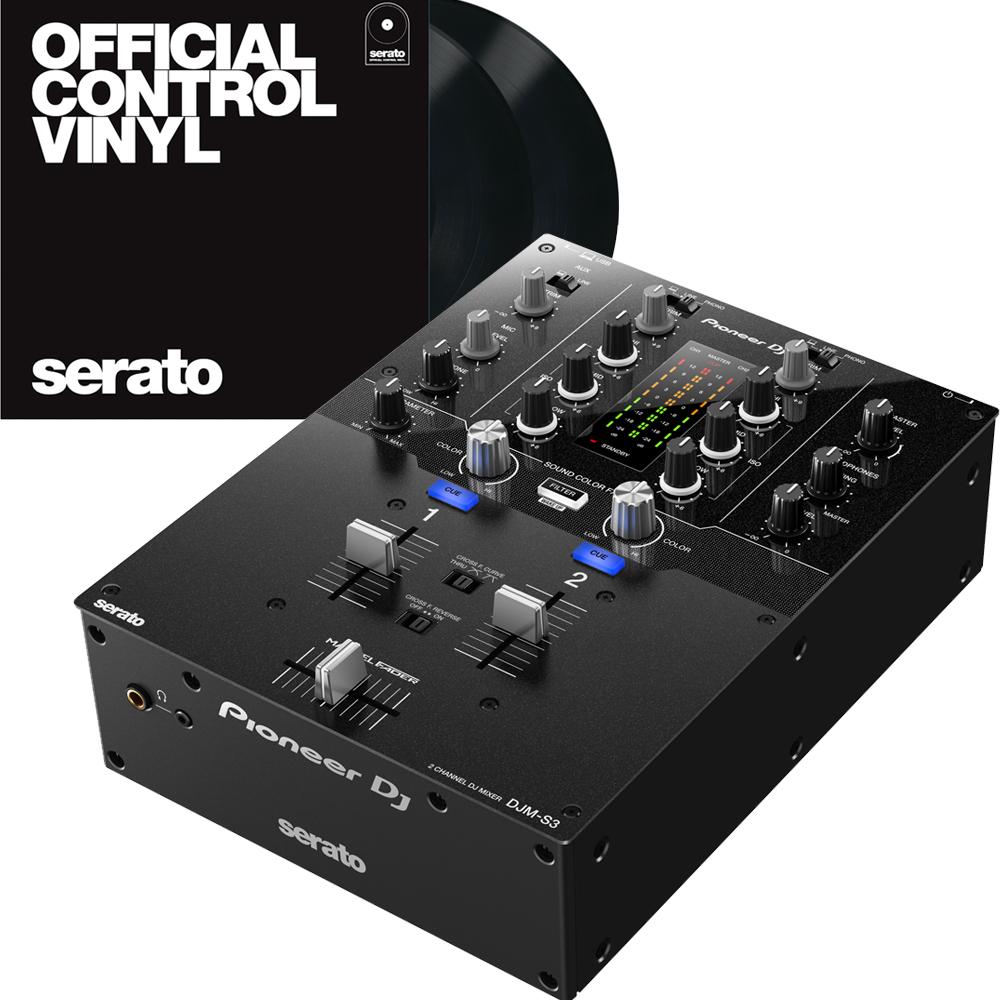Pioneer DJM-S3 Mixer for Serato DJ & DVS + 2 x Serato Control Vinyls