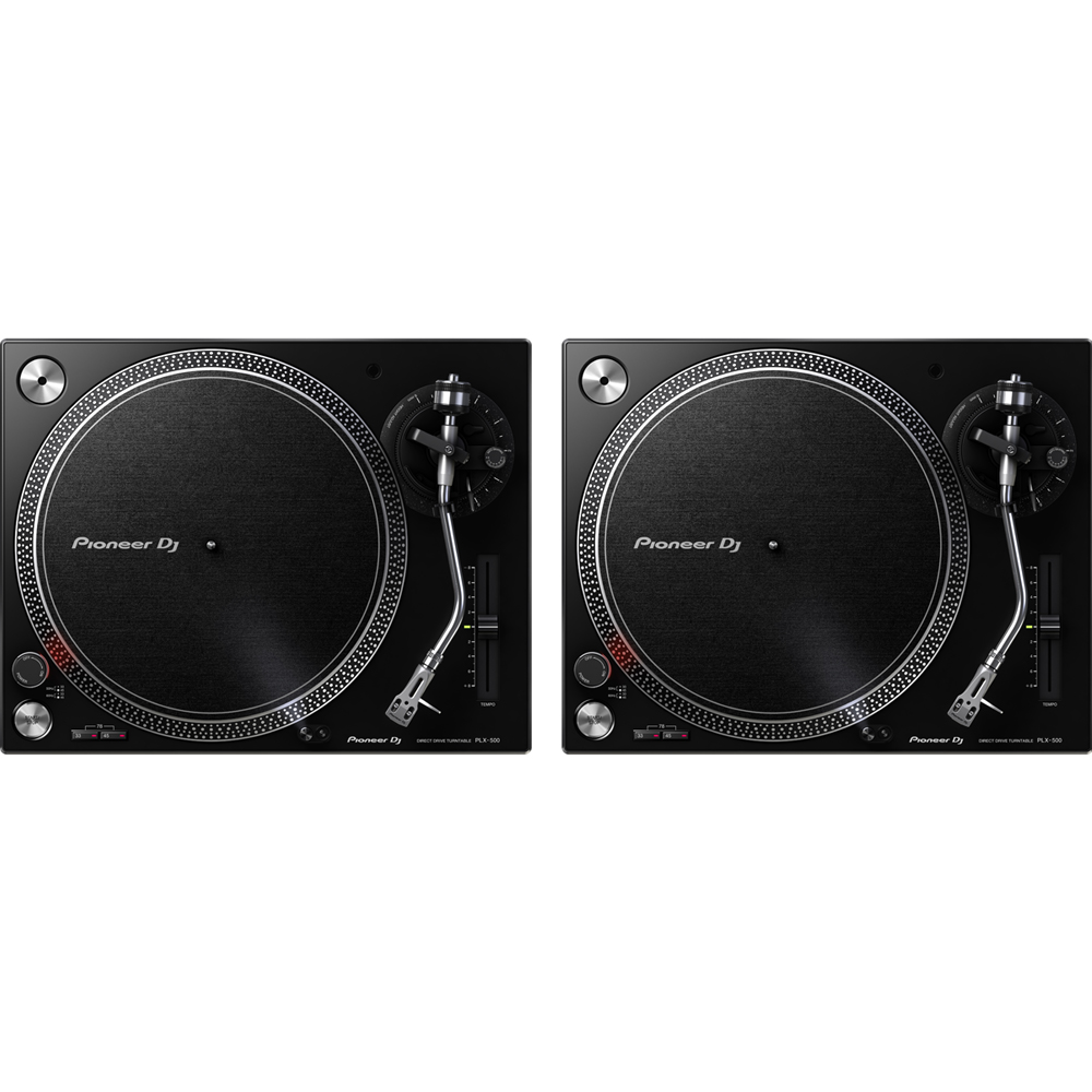 Pioneer PLX500 Black High Torque Direct Drive Turntable (Pair)