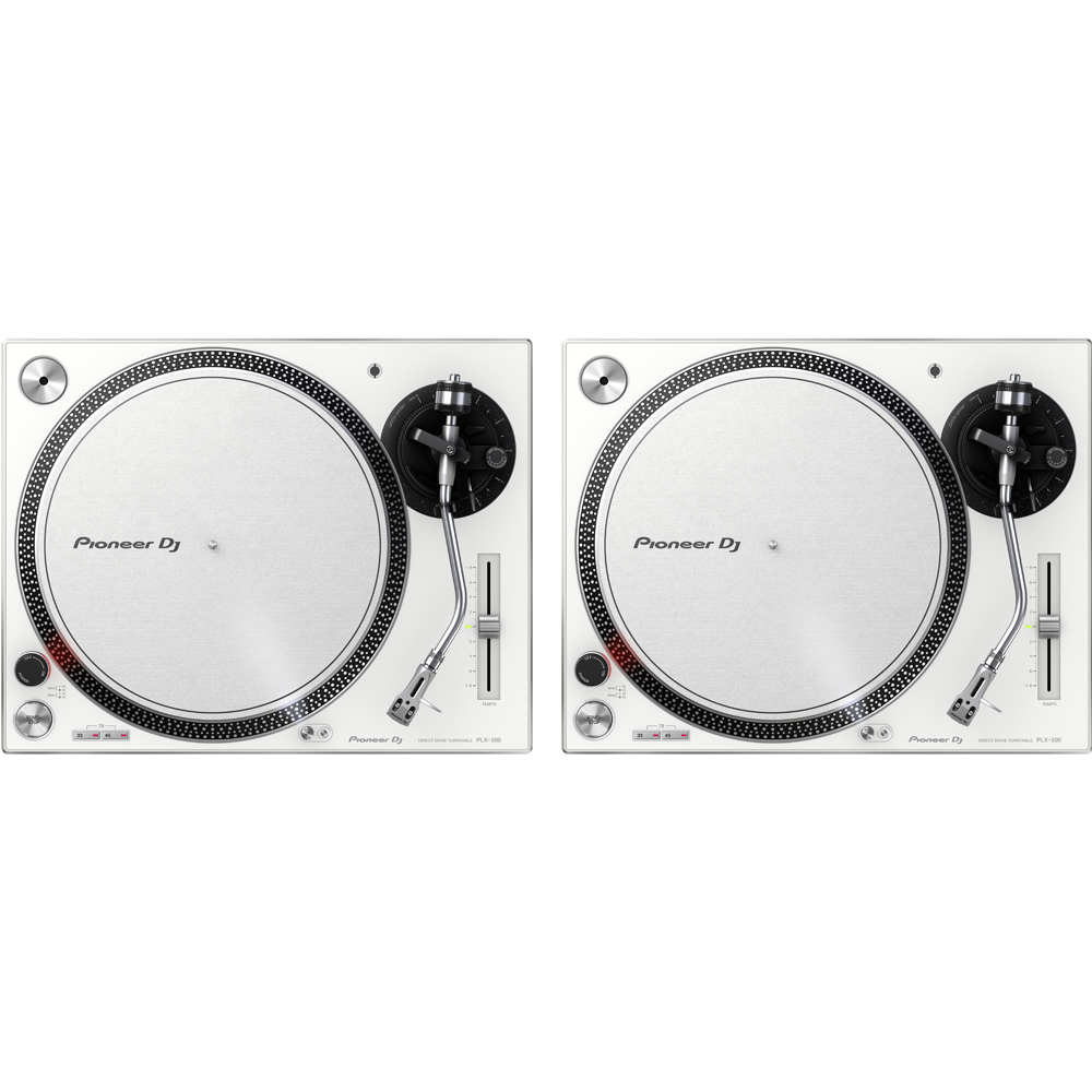 Pioneer PLX500 White High Torque Direct Drive Turntable (Pair)