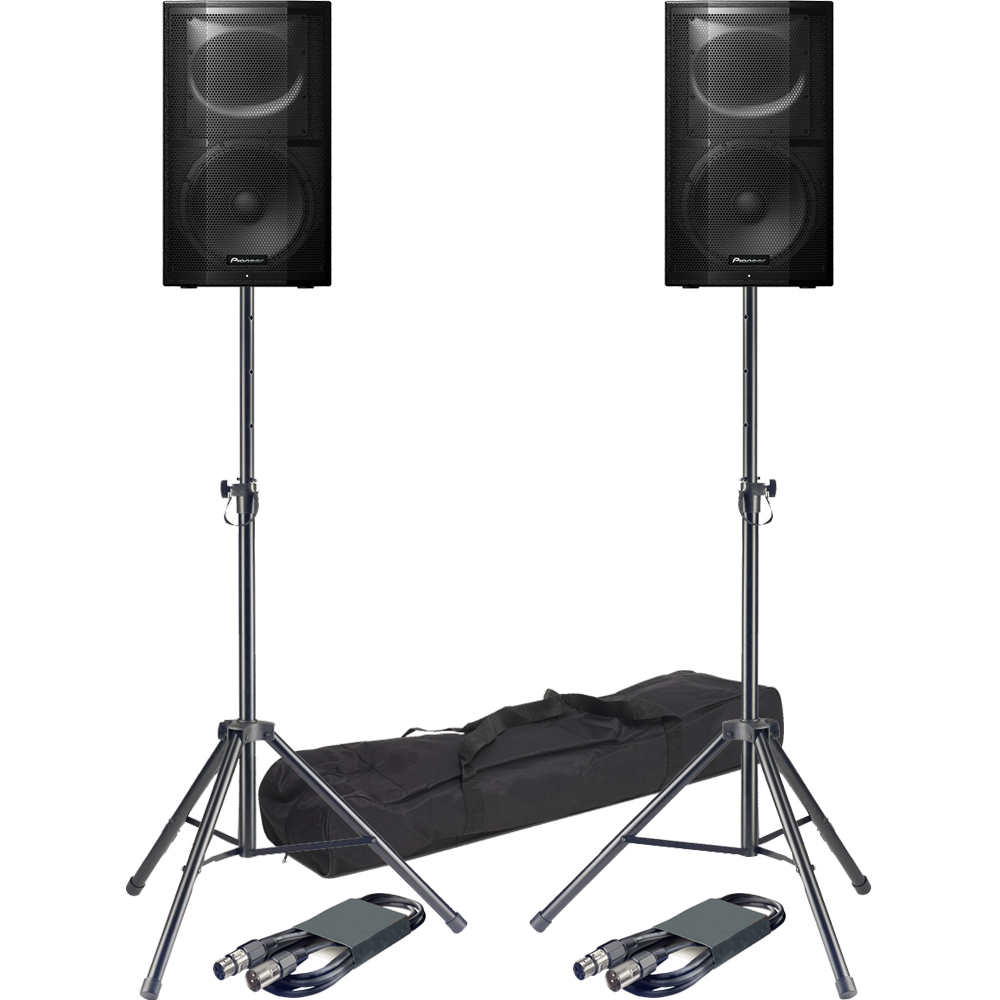 ​Pioneer XPRS12 Active PA Speakers + Tripod Stands & Leads Bundle Deal