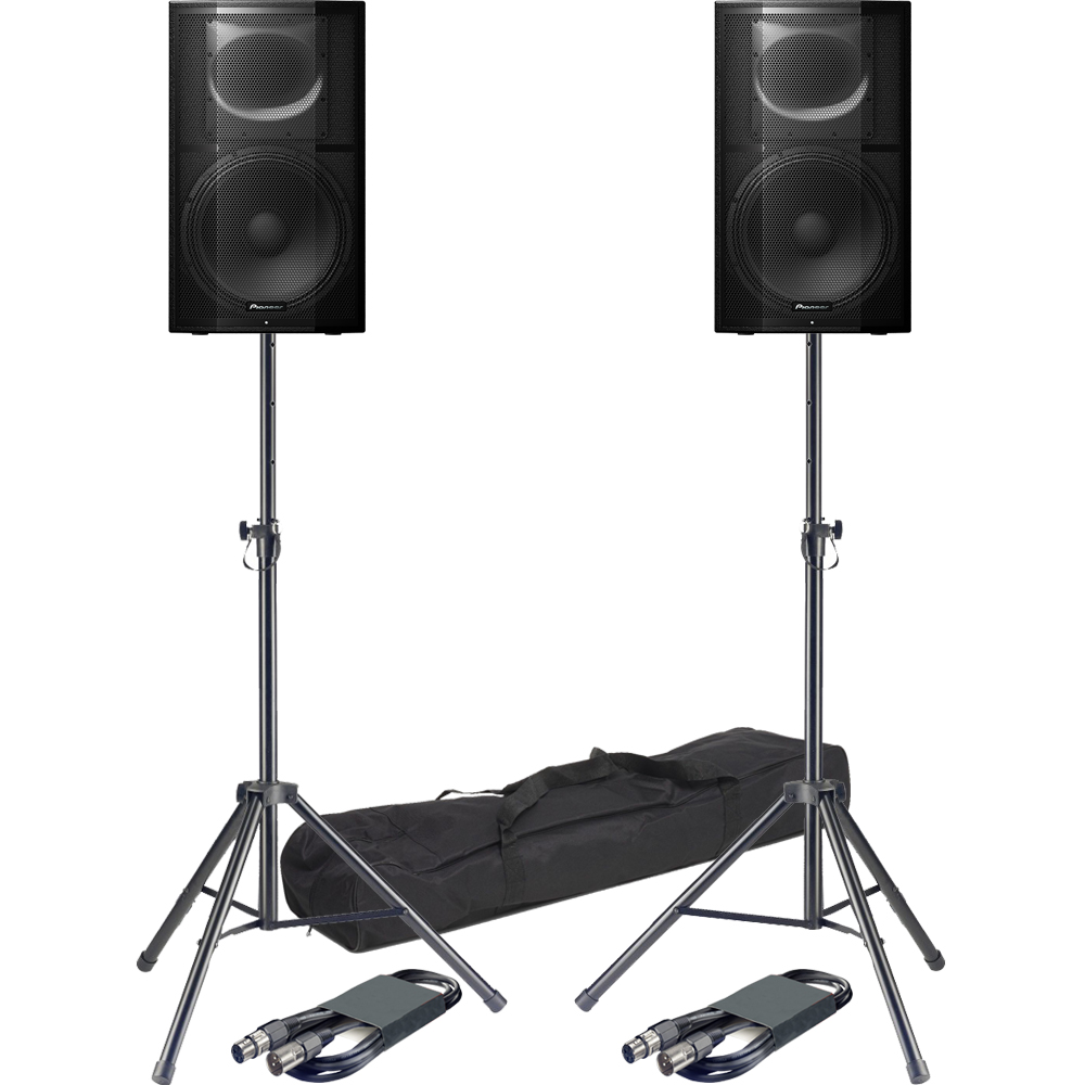 Pioneer XPRS15 Active PA Speakers + Tripod Stands & Leads Bundle Deal