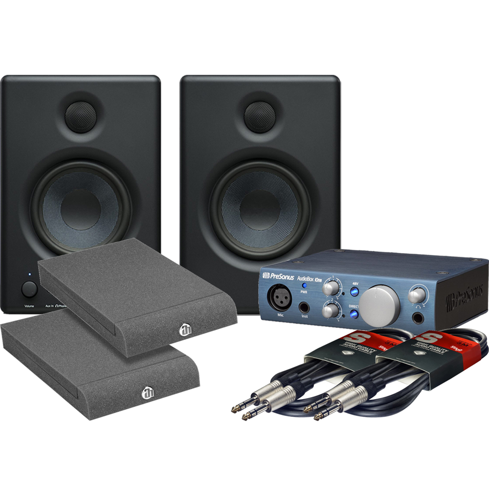 Presonus Eris E4.5 Monitors, Audiobox iOne, Iso Pads + Leads Bundle