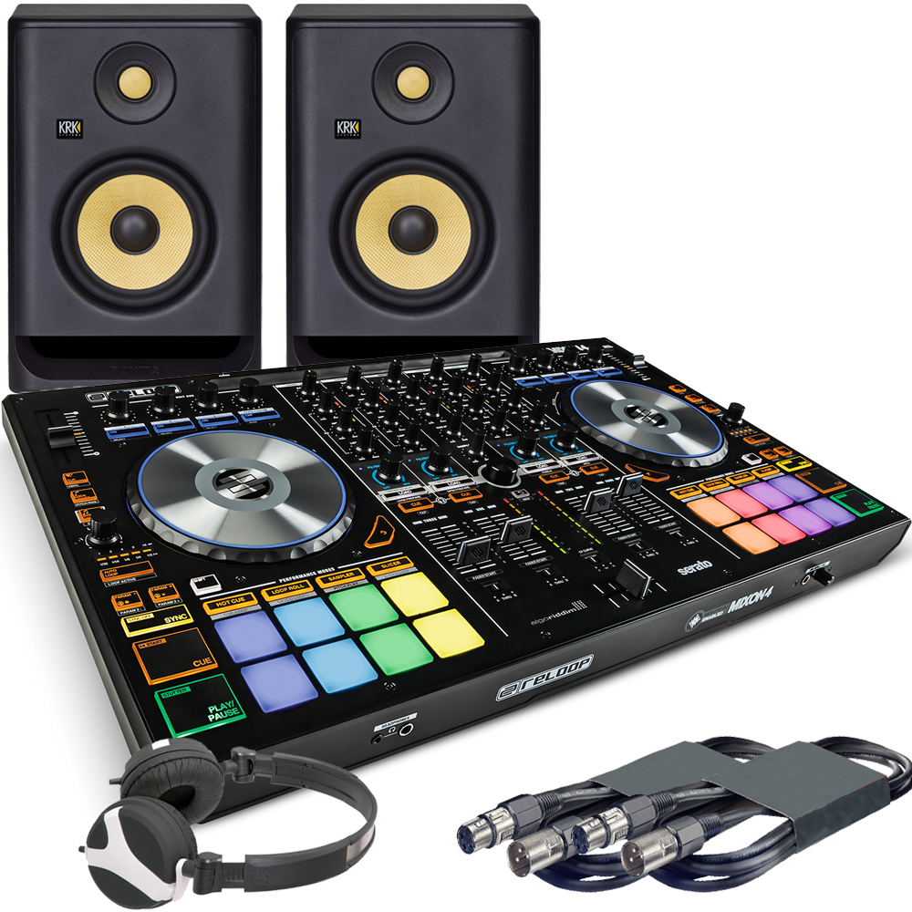 Reloop Mixon 4 DJ Controller, RP5 G4 Monitors + Headphones Bundle