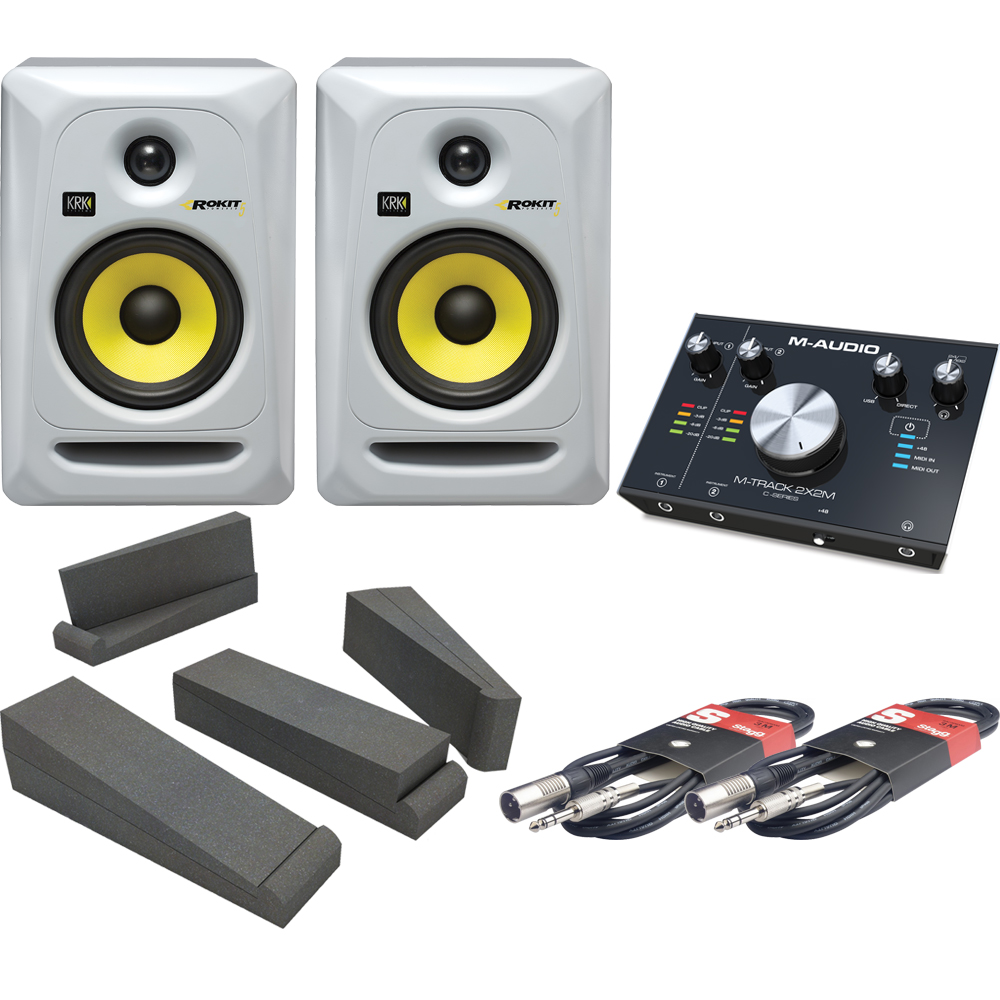 KRK RP5 G3 White  (Pair), M-Track 2x2M, Isolation Pads & Leads Bundle