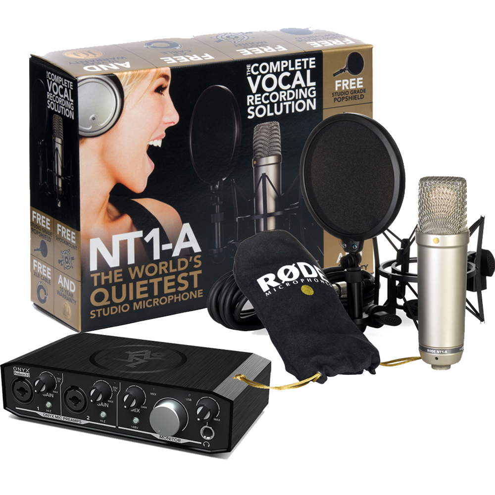 Rode NT1-A Vocal Recording Package + Mackie Onyx 2.2 Producer Interface