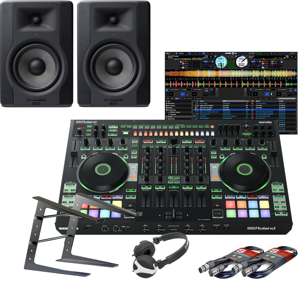 Roland DJ-808, Serato DJ, BX5 D3 Speakers, Laptop Stand & Headphones
