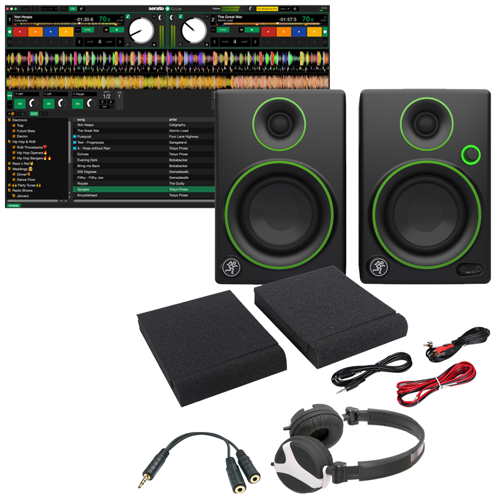 Serato Play, Mackie CR3 Speakers, Headphones + Splitter Cable Bundle