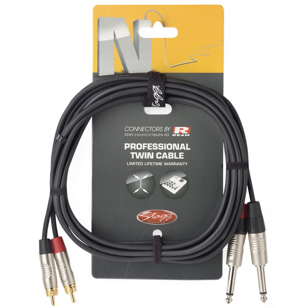Stagg Jack - RCA 3 Metre Pro Audio Cable (NTC3PCMR)