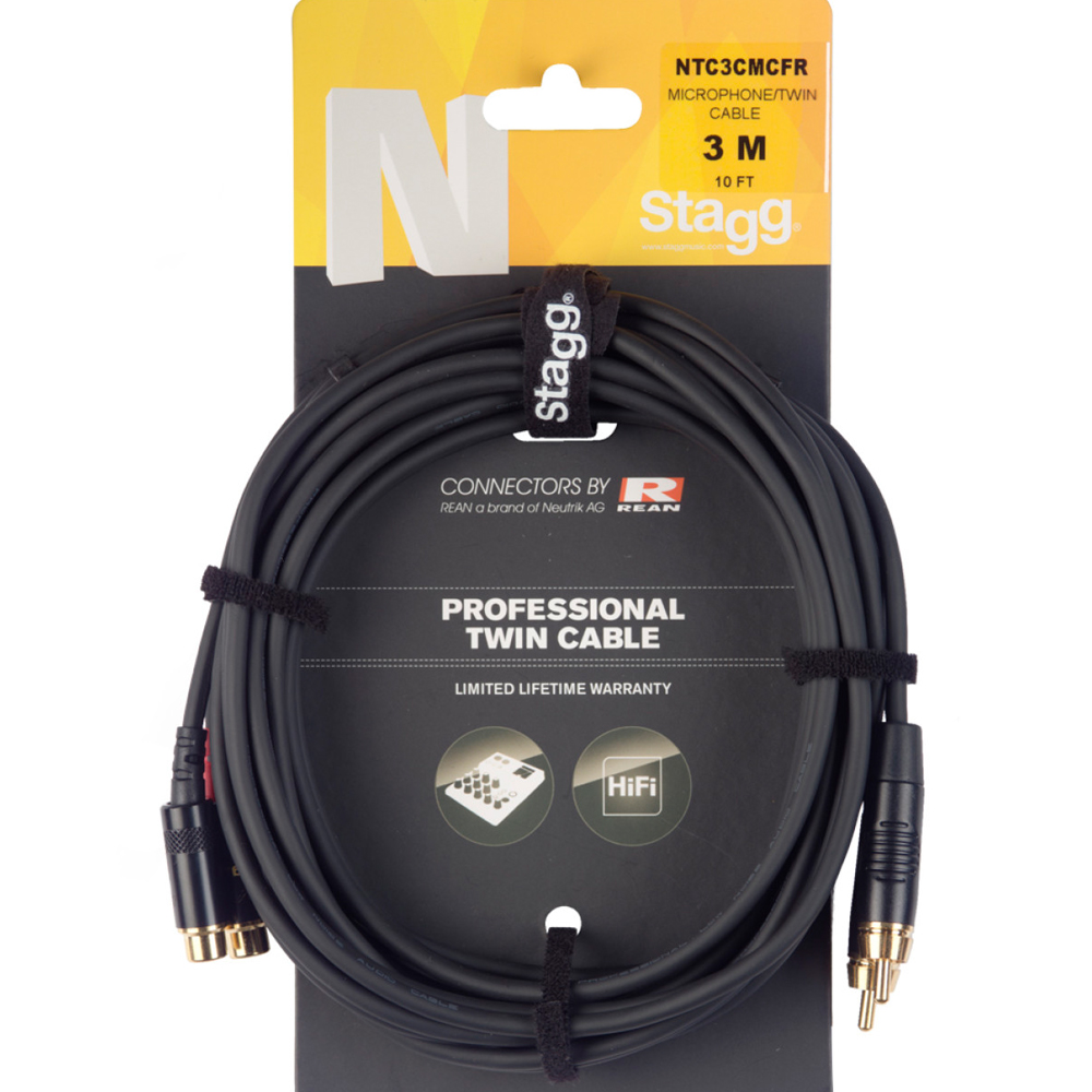 Stagg RCAm - RCAf 3 Metre Pro Audio Cable (NTC3CMCFR)