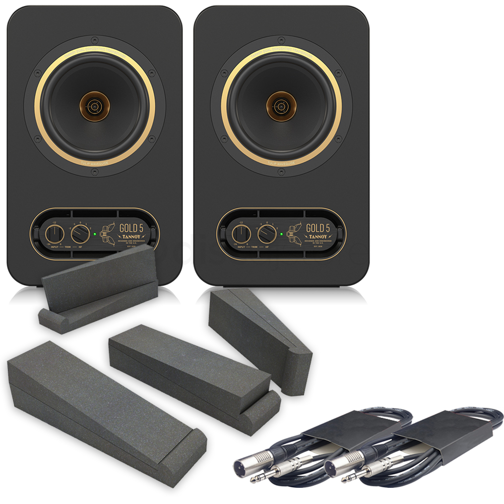 Tannoy Gold 5 Active Studio Monitors, Isolation Pads & Leads Bundle