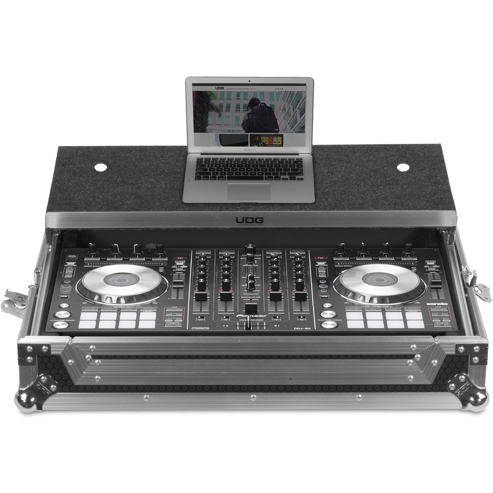 UDG Ultimate Flight Case Pioneer DDJ-RX/SX3 Silver Plus, Laptop Shelf