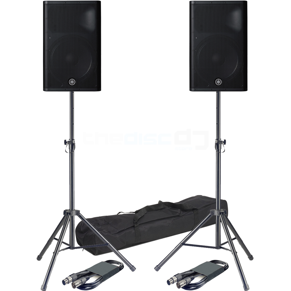 Yamaha DXR15 MK2 Active PA Speakers + Tripod Stands & Leads Bundle