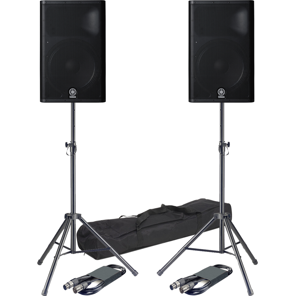Yamaha DXR15 700 Watt RMS Active PA Speakers + Tripod Stands & Leads