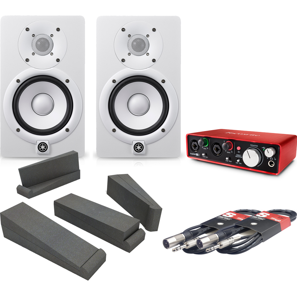 ​Yamaha HS5 White, Scarlett 2i2 (2nd Gen), Iso Pads & Cables Bundle