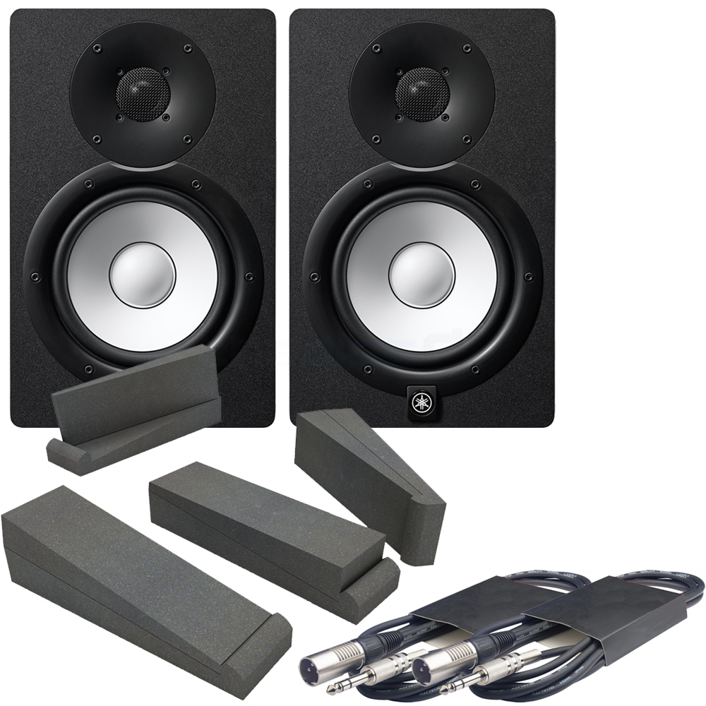 Yamaha HS7 Black Active Studio Monitors (Pair), Iso Pads, Leads Bundle
