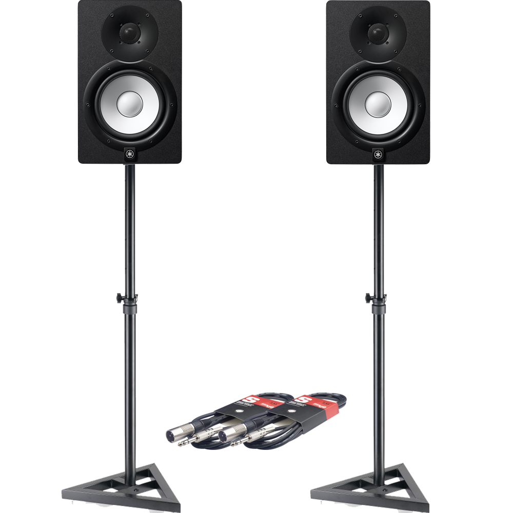 Yamaha HS8 Black Active Studio Monitors + Stands & Leads